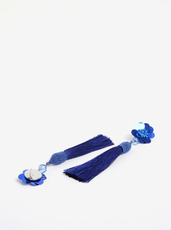 Modré náušnice s kvetovaným motívom a strapcami Pieces Joanna