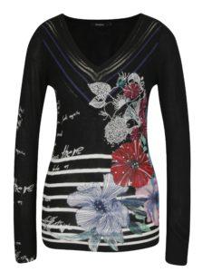 Čierny sveter s potlačou Desigual Sylvatica