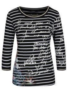 Čierne pruhované tričko s potlačou Desigual Conny
