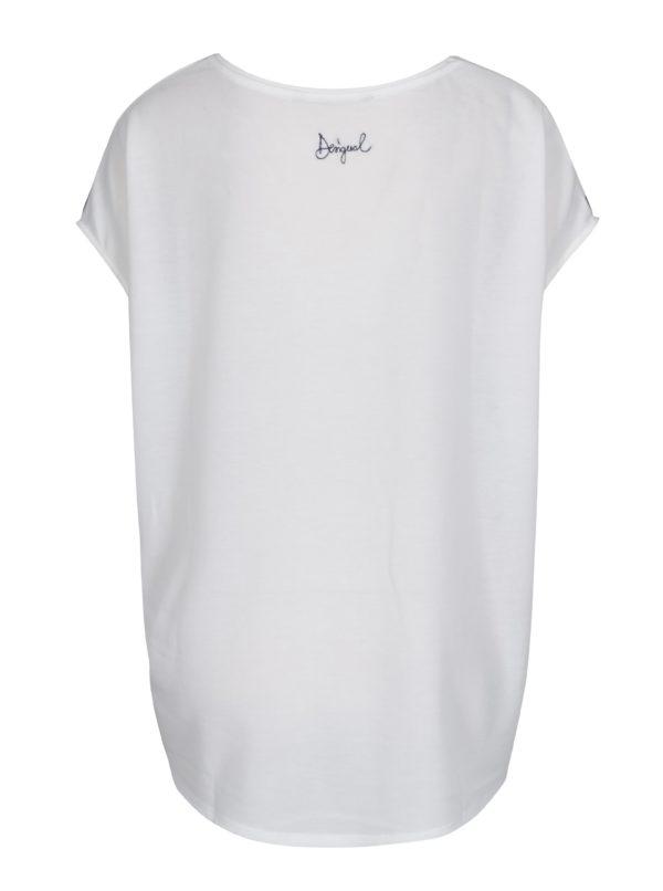 Biele voľné tričko s potlačou a sťahovaním v páse Desigual Unforgetable