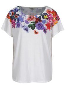 Biele voľné tričko s potlačou Desigual Aglaia