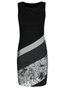 Sivo-čierne pruhované šaty s potlačou Desigual Goodbye