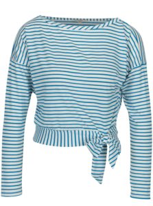 Modro–biele pruhované tričko s uzlom Miss Selfridge