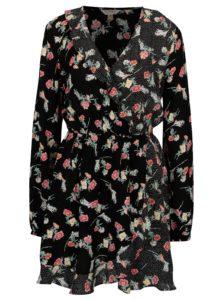 Čierne kvetované zavinovacie šaty Miss Selfridge