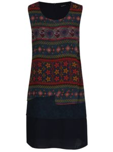 Tmavomodré voľné vzorované šaty Desigual Jonatan