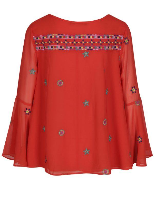 Červená blúzka so zvonovými rukávmi Desigual Karissa