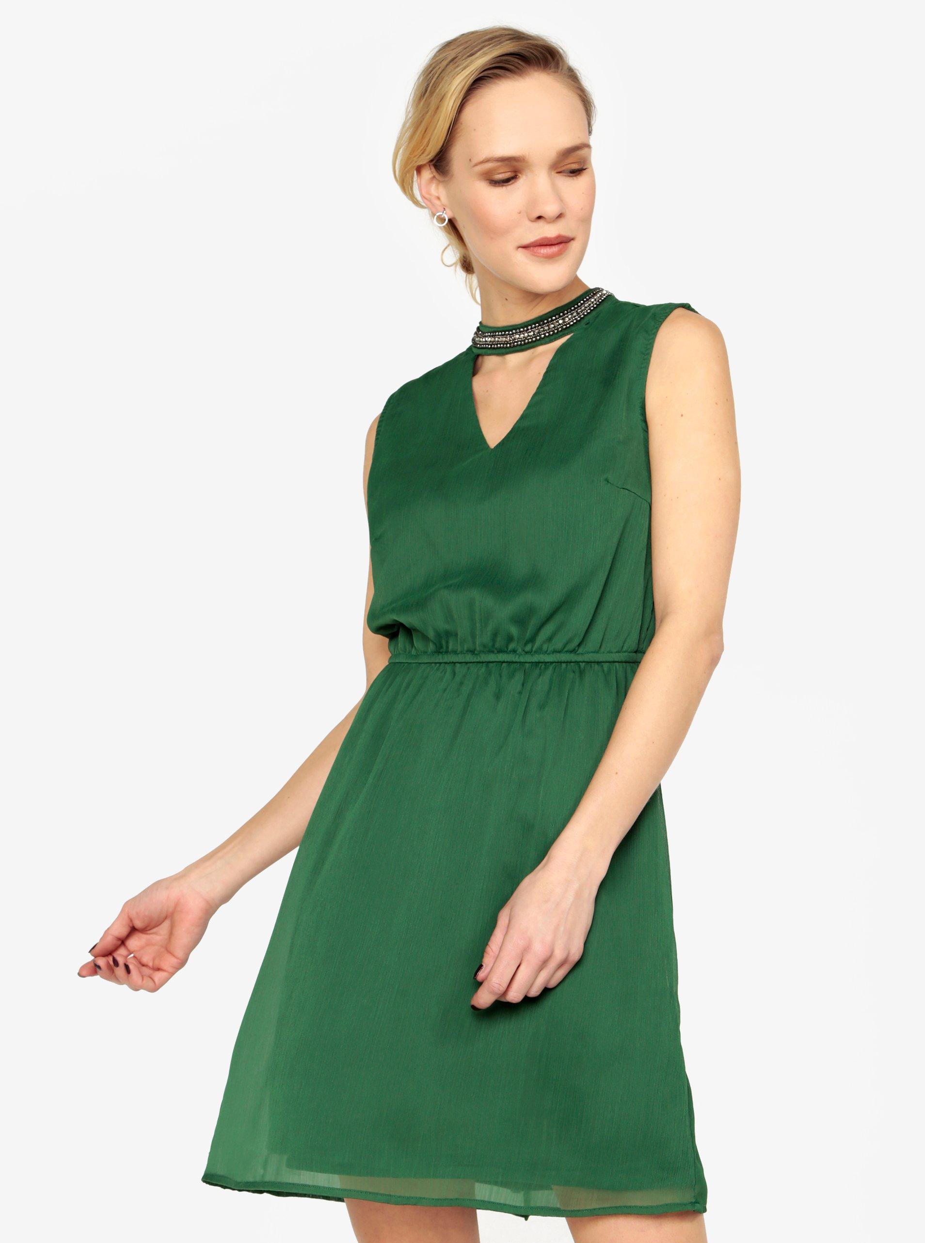 Zelené šaty s koráilkovou aplikáciou ONLY Dafne  7a491a9022