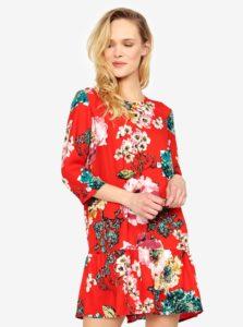 Červené kvetované šaty s volánom ONLY Katehrine