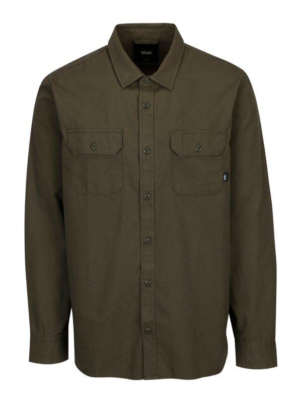 Kaki pánska košeľa s motívom VANS Arlington