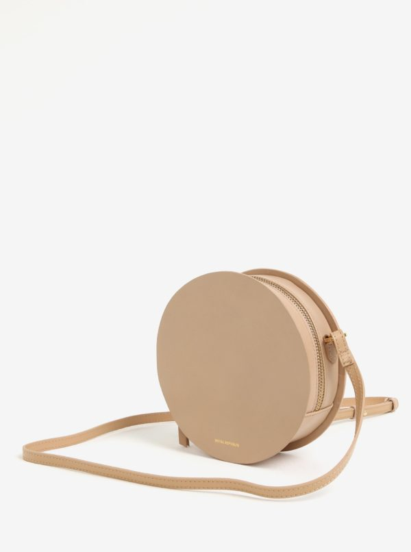 Béžová kožená okrúhla crossbody kabelka Royal RepubliQ Galax Round