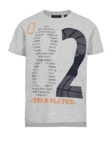 Sivé chlapčenské melírované tričko s predĺženým zadným dielom a potlačou Blue Seven