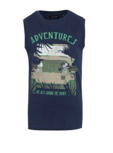 Tmavomodré chlapčenské tričko bez rukávov s potlačou Blue Seven