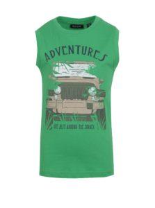 Zelené chlapčenské tričko bez rukávov s potlačou Blue Seven