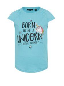 Svetlomodré dievčenské tričko s potlačou jednorožca Blue Seven