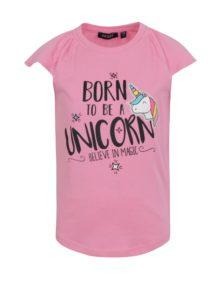 16d0a4178ec4 Ružové dievčenské tričko s potlačou jednorožca Blue Seven