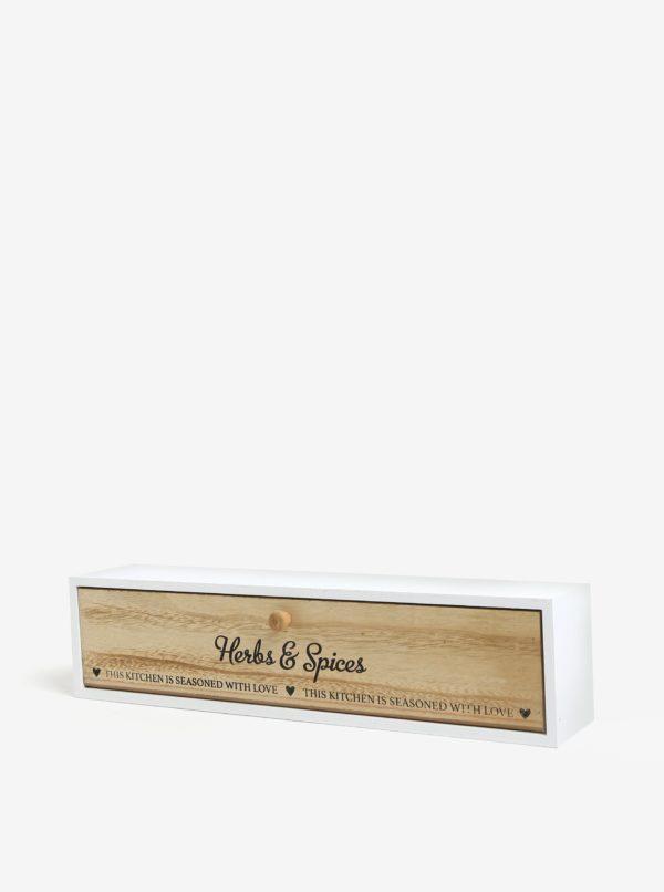 Biely drevený úložný box na korenie SIFCON