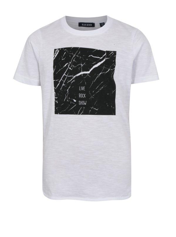 Biele chlapčenské tričko s okrúhlym výstrihom a potlačou Blue Seven