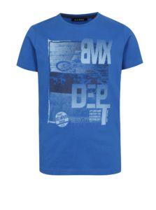 Modré chlapčenské tričko s potlačou bikera Blue Seven