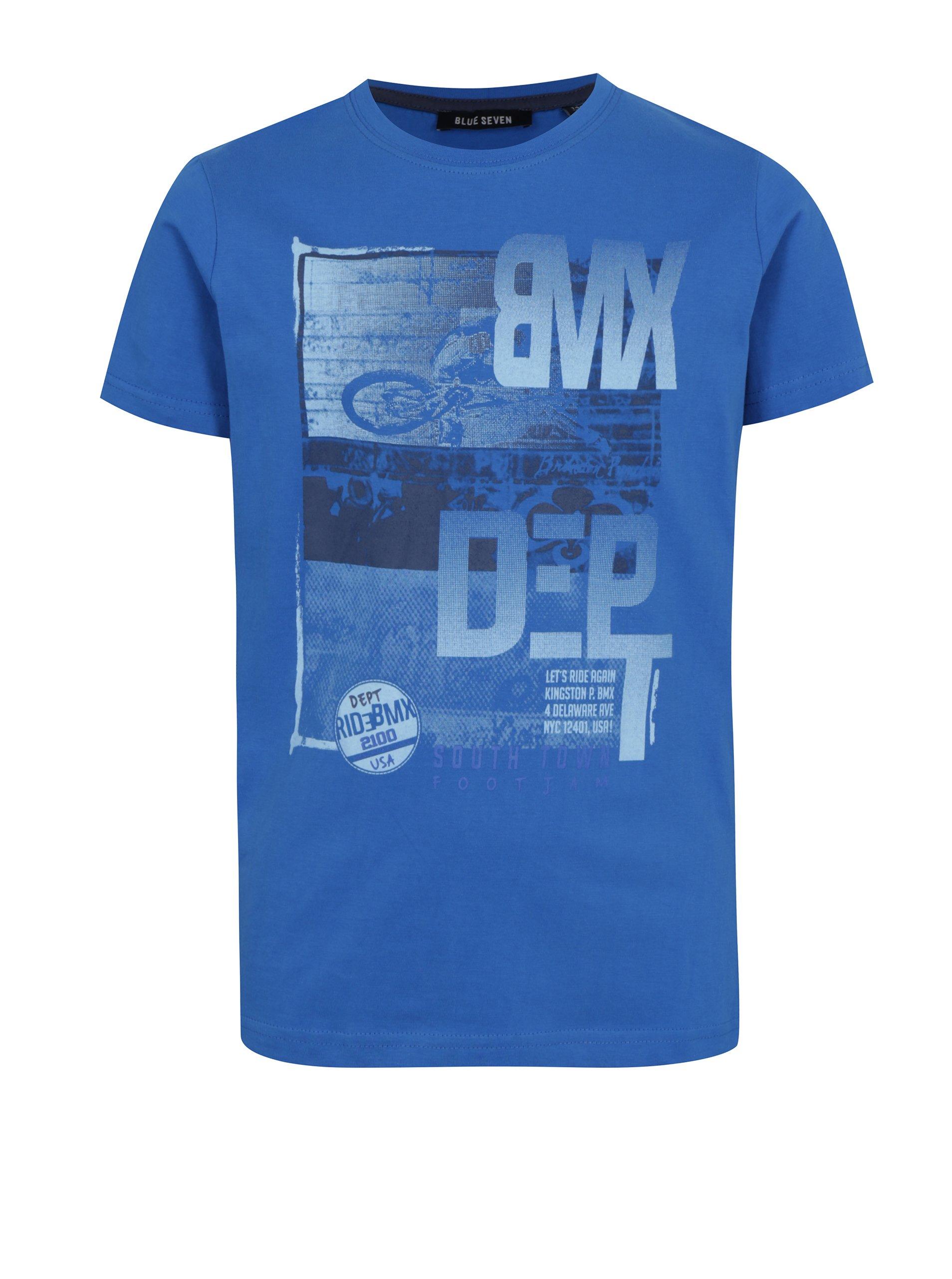 7b843c6c1f7b Modré chlapčenské tričko s potlačou bikera Blue Seven