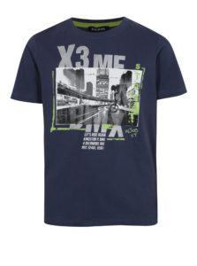 Tmavomodré chlapčenské tričko s potlačou bikera Blue Seven