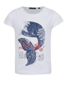 Biele dievčenské tričko s potlačou morskej panny Blue Seven