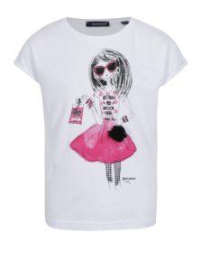Biele dievčenské tričko s potlačou a kvetinou Blue Seven