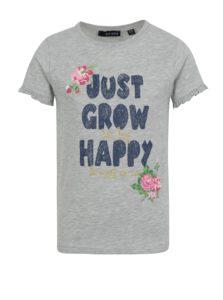 Sivé dievčenské melírované tričko s nápisom a volánmi na rukávoch Blue Seven