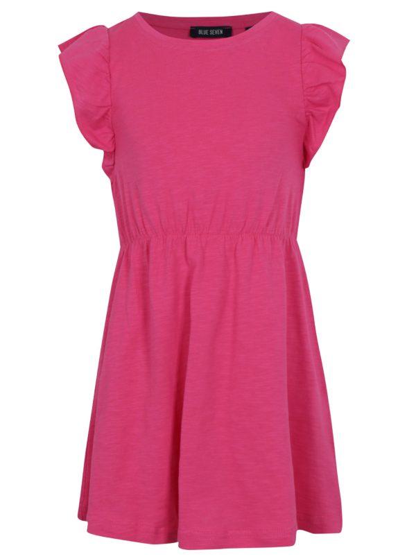 Ružové dievčenské šaty s volánmi Blue Seven