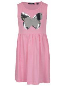 Svetloružové dievčenské šaty s magickými flitrami Blue Seven