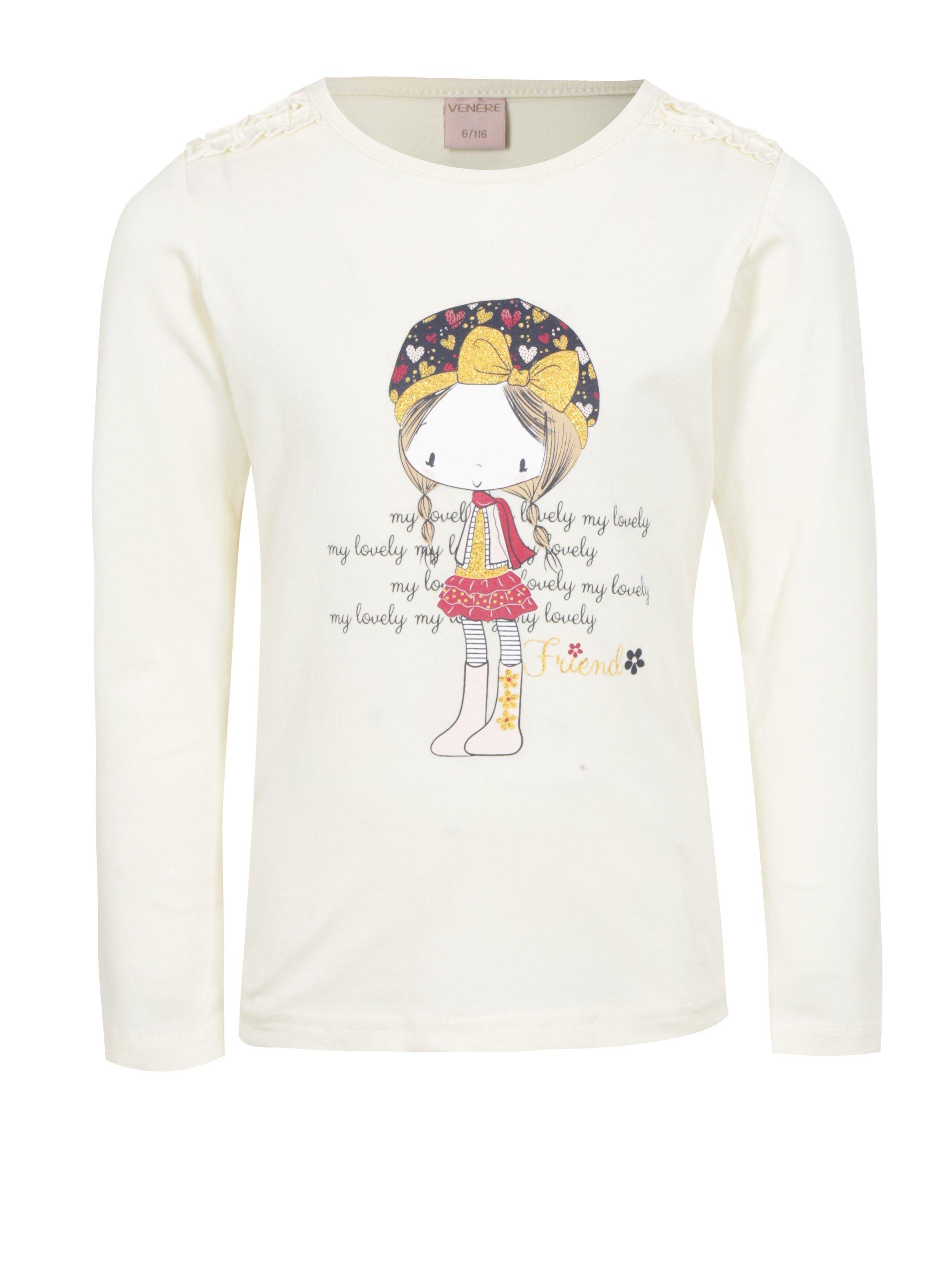 99a5a0f4d05d Svetložlté dievčenské tričko s dlhým rukávom a potlačou Venere