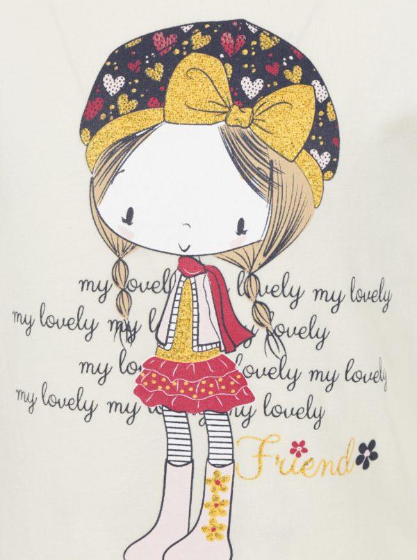 Svetložlté dievčenské tričko s dlhým rukávom a potlačou Venere