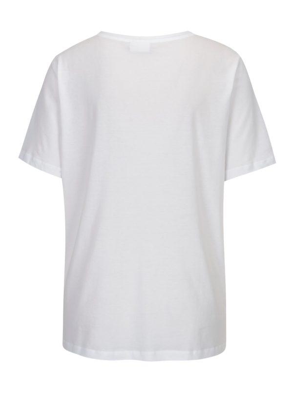 Biele tričko s chlpatým nápisom VILA Farah