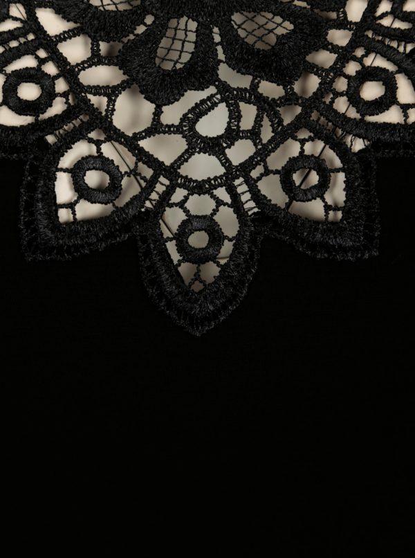 Čierna nočná košieľka s čipkou vo výstrihu Eldar Gaja
