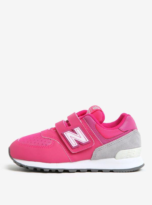 Ružové dievčenské tenisky na suchý zips New Balance