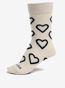 Čierno-krémové vzorované unisex ponožky Fusakle Drsňák Love