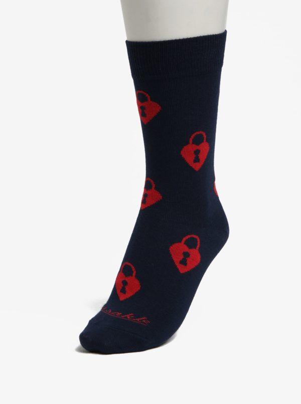 Tmavomodré vzorované unisex ponožky Fusakle Zamilovaný zámočník