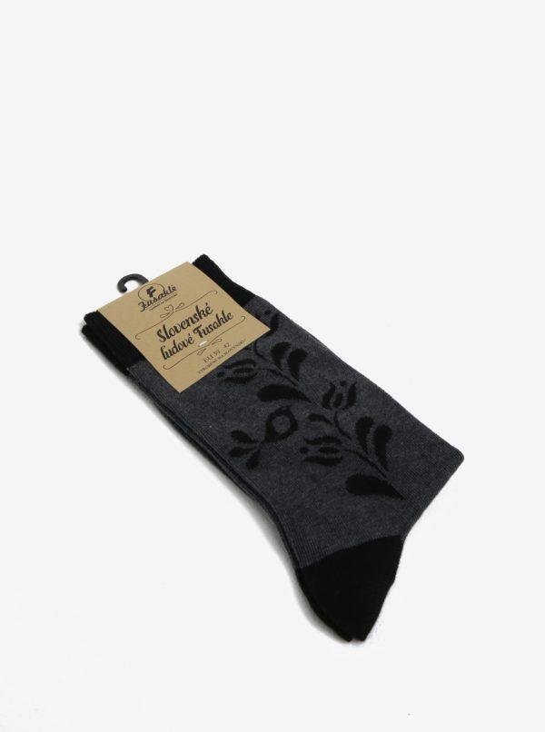 Sivo-čierne vzorované ponožky s motívom kvetov Fusakle Vtáčik