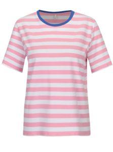 Bielo-ružové pruhované voľné tričko ONLY Live Love