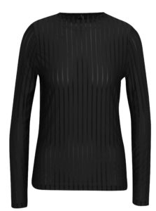 Čierne tričko s priesvitnými pruhmi VERO MODA Ann