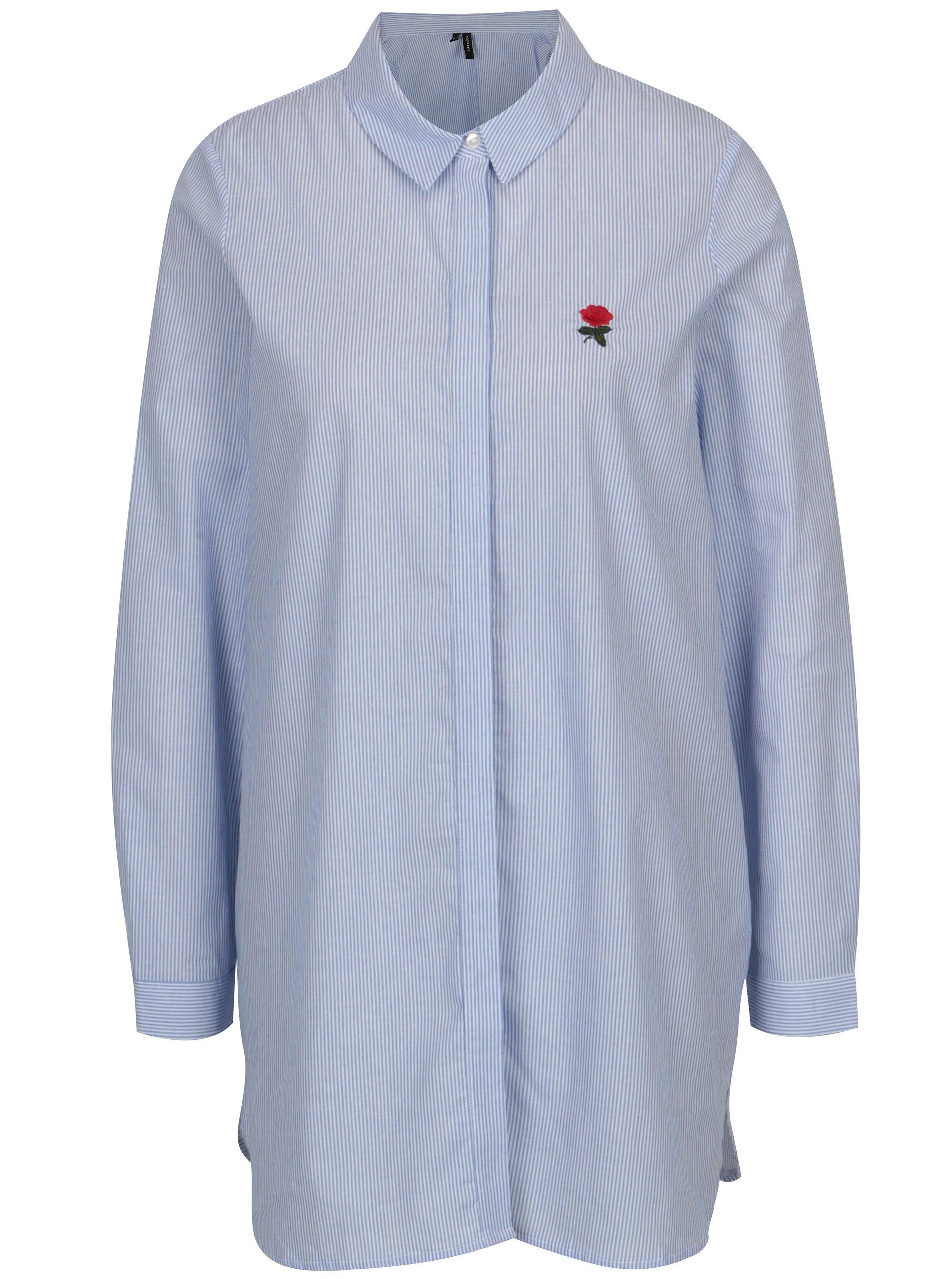 d99b67d95475 Bielo-modrá dlhá pruhovaná košeľa VERO MODA Multi Rosa