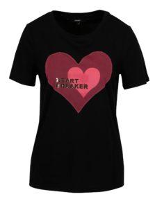 Čierne tričko s motívom srdca VERO MODA Jenny