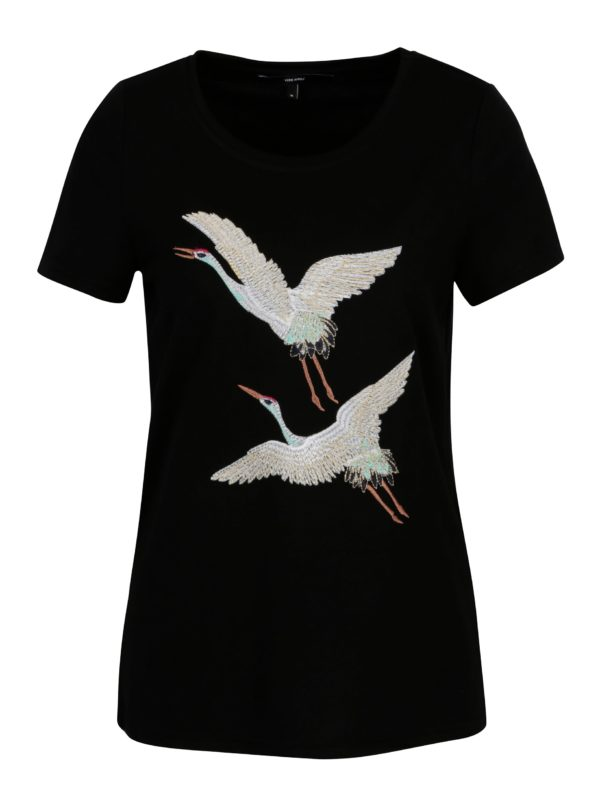 Čierne tričko s výšivkami volavky VERO MODA Justine