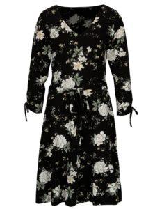 Čierne kvetované šaty so zaväzovaním Dorothy Perkins