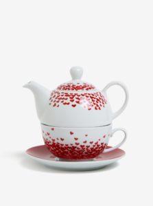 Súprava porcelánovej kanvice, šálky a podšálky v červenej farbe Kaemingk