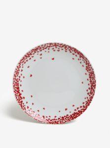 Krémový porcelánový tanier s motívom sŕdc Kaemingk