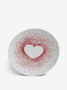 Krémový porcelánový bodkovaný tanier s motívom srdca Kaemingk