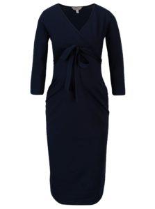 Tmavomodré tehotenské šaty s 3/4 rukávom Dorothy Perkins Maternity