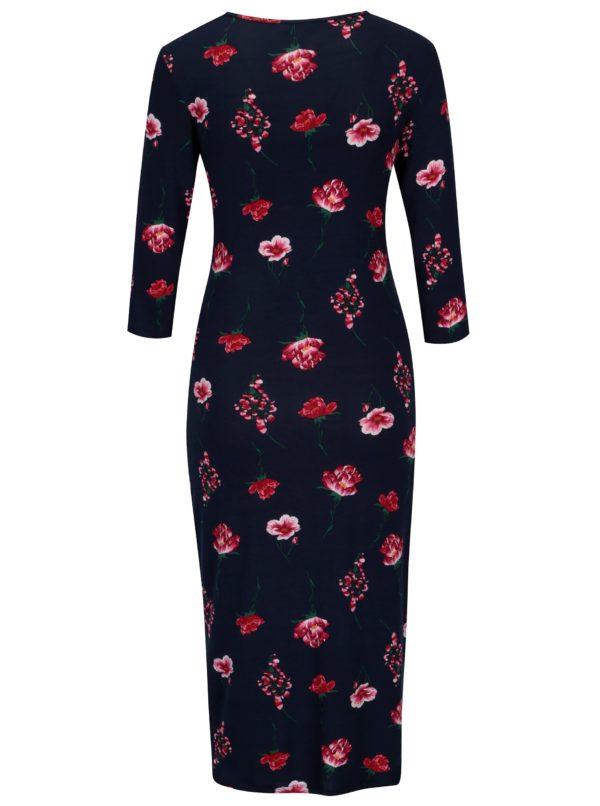 Tmavomodré kvetované tehotenské šaty s 3/4 rukávom Dorothy Perkins Maternity