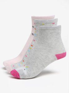 Súprava troch párov dievčenských ponožiek v ružovej a sivej farbe 5.10.15.
