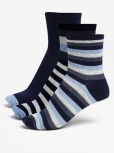 Súprava troch párov chlapčenských pruhovaných ponožiek v sivej a modrej farbe 5.10.15.
